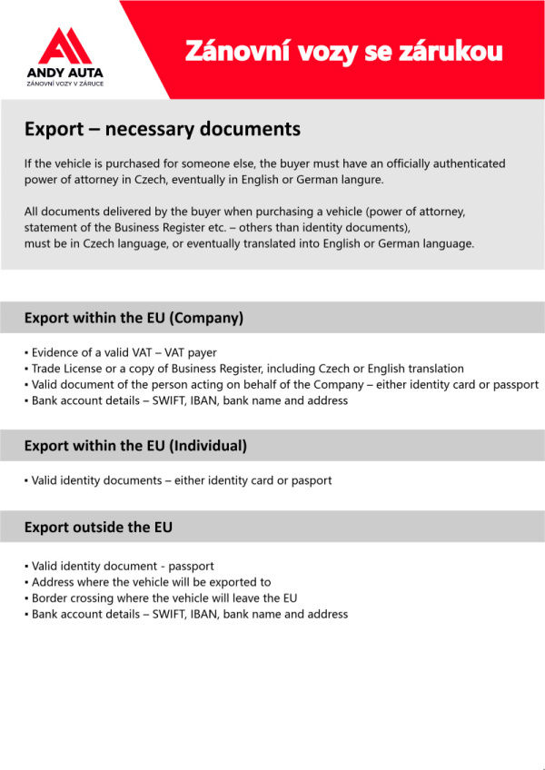 Export - necessary documents